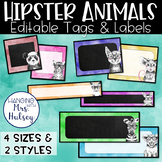 Hipster Animals: Editable Name Tags and Labels