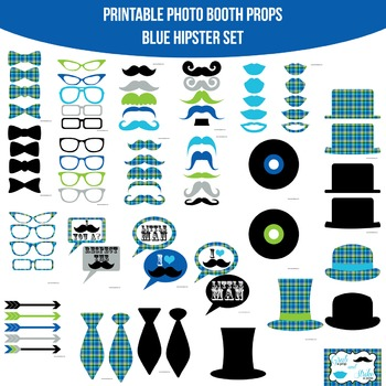 Hipster Blue Printable Photo Booth Prop Set