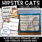 Hipster Cats: Editable 3 Drawer Sterilite Labels