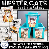 Hipster Cats: Editable Book Bin Labels