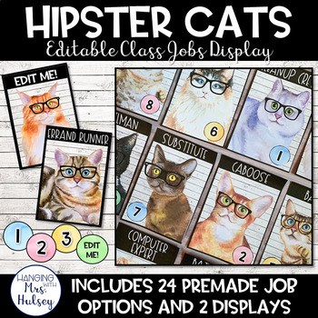Hipster Cats: Editable Class Jobs Display