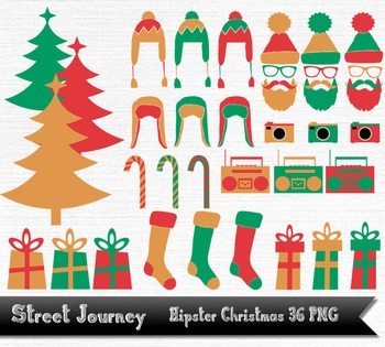 Hipster Christmas Clip Art Collection 36 PNG with transparent background 300DPI