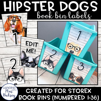 Hipster Dogs: Editable Book Bin Labels