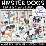 Hipster Dogs: Editable Classroom Supply Labels