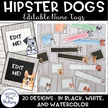 Hipster Dogs: Editable Name Tags or Labels