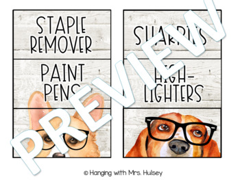 Hipster Dogs: Editable Teacher Toolbox Labels