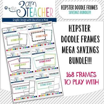 Hipster Doodle Frames Mega Bundle Savings Clipart Set: 168