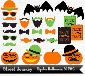 Hipster Halloween Clip Art Collection 30 PNG with transpar