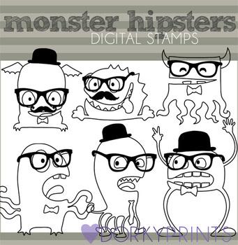 Hipster Monsters Black Line Clip Art