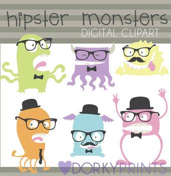 Hipster Monsters Digital Clip Art