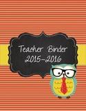 Hipster Owl Teacher Binder 2015-2016 teal, orange, yellow