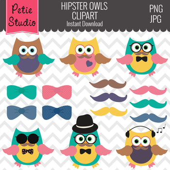 Hipster Owls Clipart, Hipster Sayings, Bow Tie Clipart - Animals107