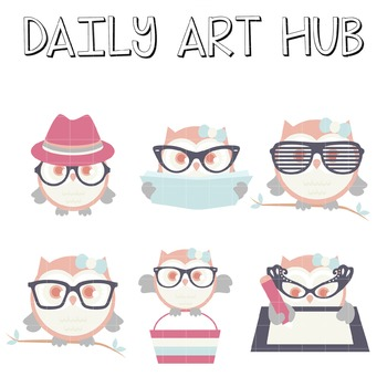 Hipster Owly Art - Great for Art Class Projects!