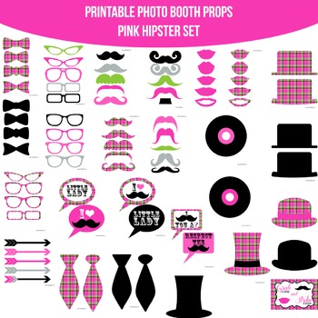 Hipster Pink Printable Photo Booth Prop Set
