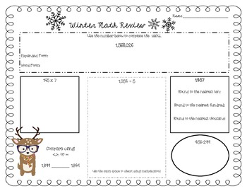 Hipster Reindeer Themed Math Review Common Core Aligned NBT *4th Grade Edition