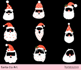 Hipster Santa face clipart, Santa mask with hat beard mustache, Christmas props