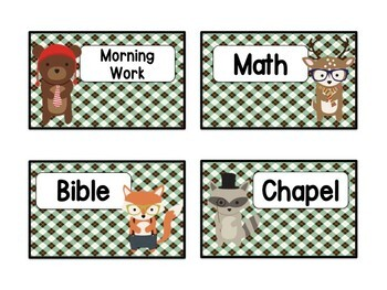 Hipster Themed Daily Schedule Cards