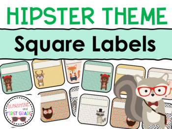 Hipster Themed Editable Square Labels