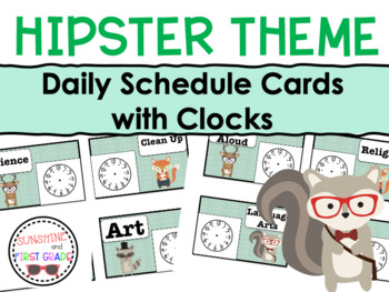 Hipster Themed Schedule Cards with Clocks