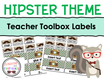 Hipster Themed Teacher Toolbox Labels