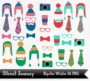 Hipster Winter Clip Art Collection 36 PNG with transparent background 300DPI