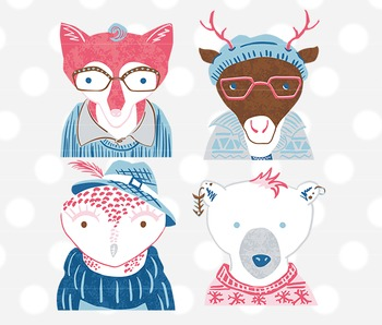 Hipster Winter Woodland Animals Clip Art, hipster animal clipart, winter clipart