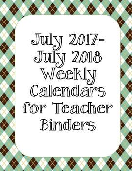 Hipster Woodland Animals Argyle Background Weekly Calendars 2017-2018