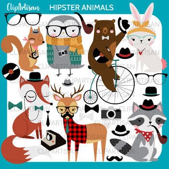 Hipster Woodland Animals Clipart
