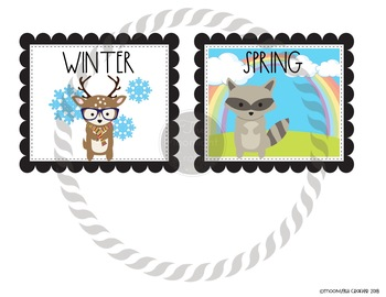 Hipster Woodland Animals Seasons Chart