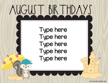 Hipster Woodland EDITABLE Birthday Bulletin Board Set
