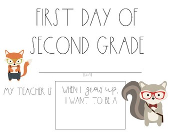 Hipster Woodland First Day of School Sign