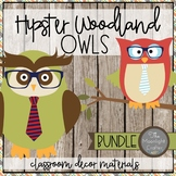 Hipster Woodland Owls Classroom Decor BUNDLE