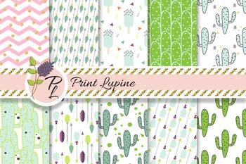 Hipster green mint digital paper set. Cactus, ice cream, arrows, cacti, chevron.