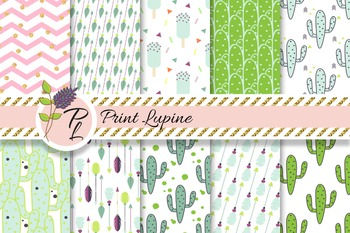 Hipster green mint digital paper set. Cactus, ice cream, a
