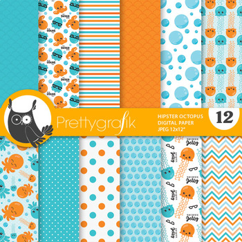 Hipster octopus papers, commercial use, scrapbook papers - PS851