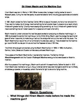 Hiram Maxim (Machine Gun) Biography and 6 questions