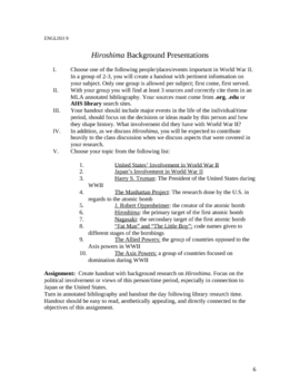 Hiroshima (Hersey) Lesson Plans/Curriculum Guide