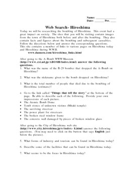 Hiroshima Web Museum Library Research Assignment