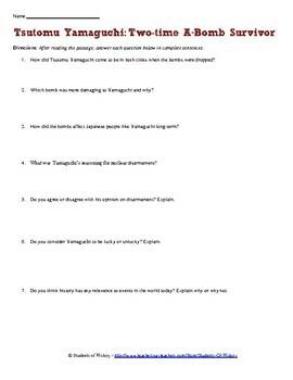 Hiroshima and Nagasaki 2x Atomic Bomb Survivor Worksheet
