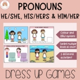 His/Her Possessive Pronouns Dress-Up Game - Speech Therapy -Paper Dolls-Clothing