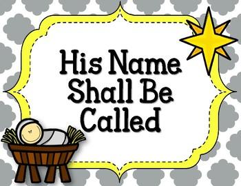 His Name Shall Be Called. Bulletin Board Set.  Christmas. Manger. Names of God