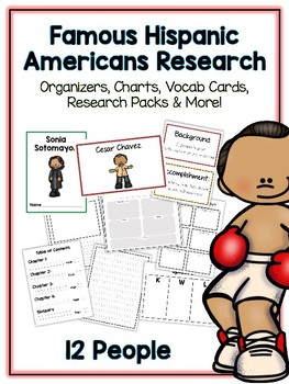 Hispanic American Research Project - 12 People Vocab Cards, Packet, Book + More!