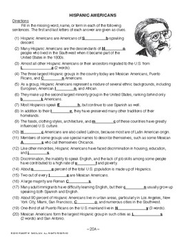 Hispanic Americans, RECENT AMERICAN HISTORY LESSON 20 of 45, Activity & Quiz