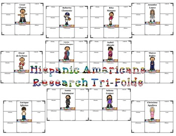 Hispanic Americans Research Tri-Folds and Graphic Organizers