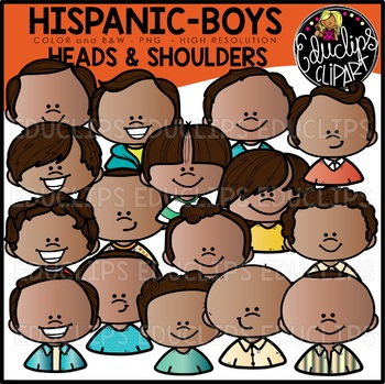 Hispanic Boys Heads & Shoulders Clip Art Set {Educlips Clipart}