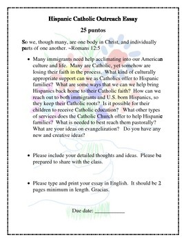 Hispanic Catholic Outreach Essay
