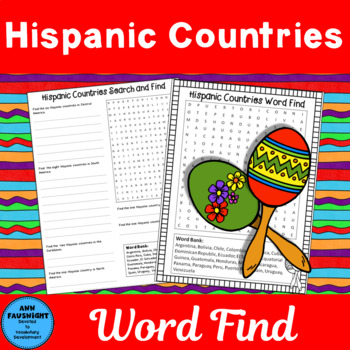 Hispanic Countries Word Find