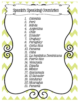 Hispanic Countries and Spanish Culture Worksheets Lesson Plans