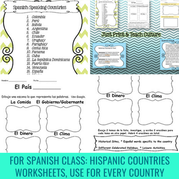 hispanic countries and spanish culture worksheets lesson plans tpt. Black Bedroom Furniture Sets. Home Design Ideas