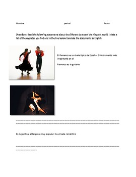 Hispanic Dances, cognates and translation - Culture